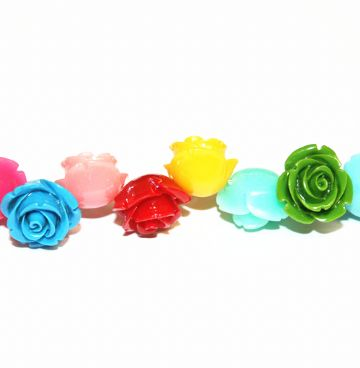 16pcs x 20mm Acrylic flower - rose beads - multi-colours